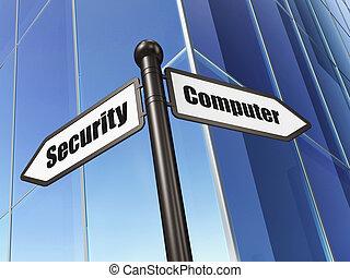 sécurité, concept:, sécurité informatique, sur, bâtiment, fond