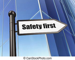 sécurité, concept:, sûreté abord, sur, bâtiment, fond