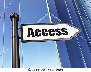 sécurité, concept:, signe, accès, sur, bâtiment, fond