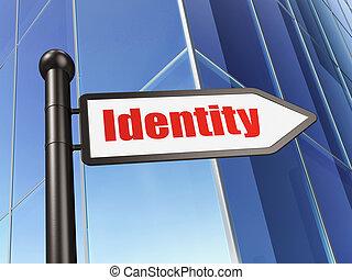 sécurité, concept:, signe, identité, sur, bâtiment, fond