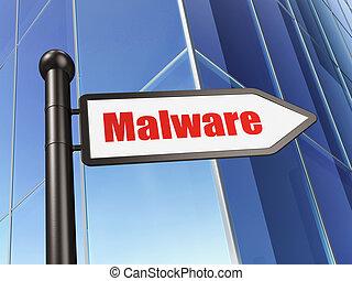 sécurité, concept:, signe, malware, sur, bâtiment, fond