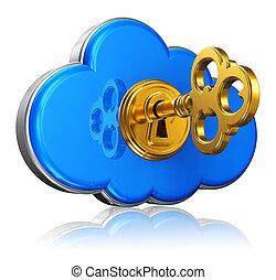 sécurité, concept, stockage, nuage, calculer