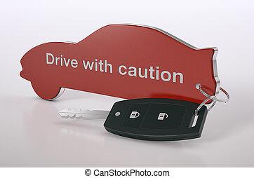 sécurité, concept, voiture