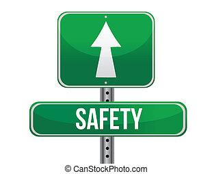 sécurité, conception, route, illustration, signe
