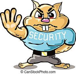 sécurité, croquis, garde, hamster
