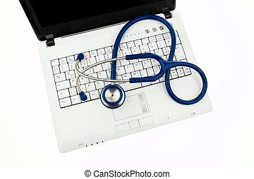 sécurité données, interne, stéthoscope, laptop.