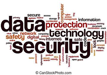 sécurité données, mot, nuage