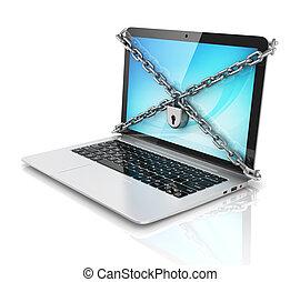 sécurité données, -, ordinateur portable, à, cadenas