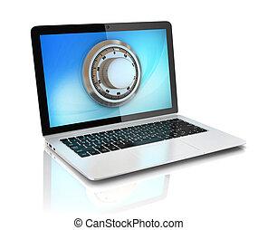 sécurité données, -, ordinateur portable, à, sûr