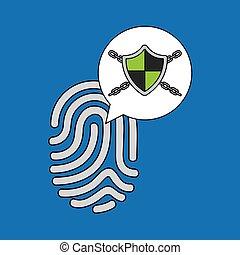 sécurité, données, système, empreinte doigt