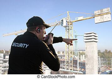 sécurité, dos, garde
