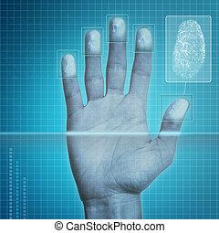 sécurité, empreinte doigt