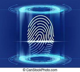 sécurité, empreinte doigt, interface, hud, scan., futuriste, données