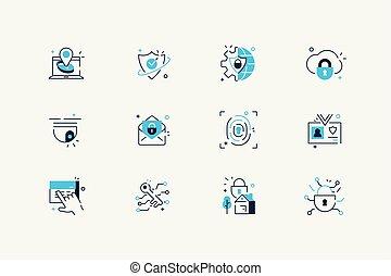sécurité, ensemble, ligne, icônes