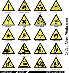 sécurité, ensemble, prudence, signs.