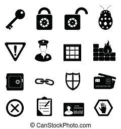 sécurité, ensemble, sécurité, icône