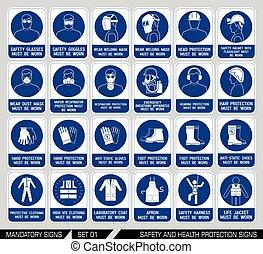 sécurité, ensemble, santé, signs., protection