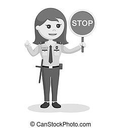 sécurité, femme, arrêt, officier, signe