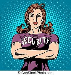 sécurité, femme, garde