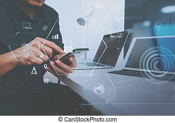 sécurité, fonctionnement, homme affaires, mobile, cyber, vr, concept., internet, gestion réseau, téléphone, icône ordinateur, fond, cadenas, écran, main