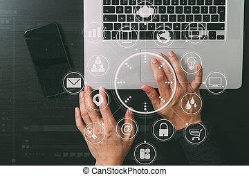 sécurité, fonctionnement, homme affaires, mobile, cyber, vr, concept., internet, gestion réseau, téléphone, icône ordinateur, fond, cadenas, écran, main, ordinateur portable
