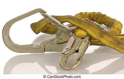 sécurité, fond, équipement industriel, reflet, harnais, blanc