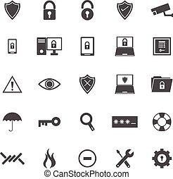 sécurité, fond blanc, icônes