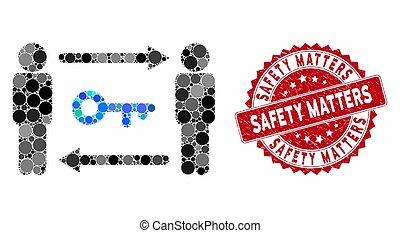 sécurité, grunge, timbre, collage, clã©, compter, échange, personnes