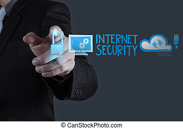 sécurité, homme affaires, business, toucher, internet, ligne, main, concept