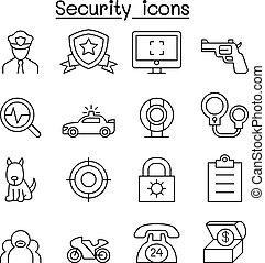 sécurité, icône, ensemble, dans, ligne mince, style