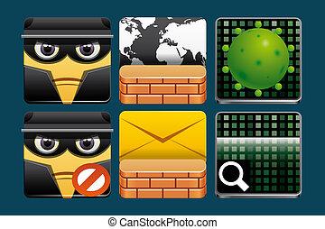 sécurité, icônes, internet