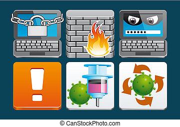 sécurité, icônes internet