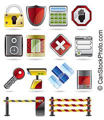 sécurité, icones affaires