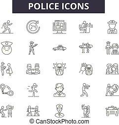 sécurité, illustration:, ligne, justice, droit & loi, ensemble, homme, contour, concept, vector., officier, police, police, signes, icônes