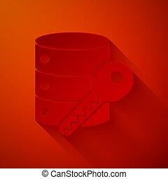 sécurité, illustration, protection, papier, rouges, clã©, art, icône, vecteur, sécurité, sécurité, isolé, serveur, concept., style., arrière-plan., coupure
