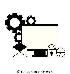 sécurité, informatique, diagramme, monture, email