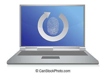 sécurité, informatique, empreinte doigt