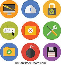 sécurité internet, icônes, ensemble