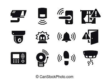 sécurité maison, ensemble, sensors, icônes