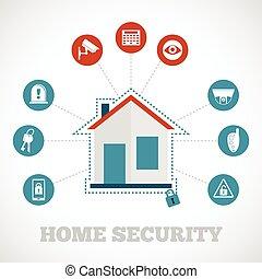 sécurité maison, icône, plat