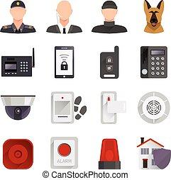 sécurité maison, icônes