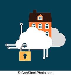 sécurité maison, nuage, technologie, serrure