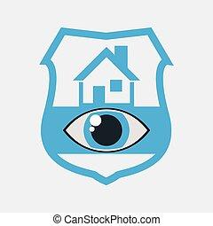 sécurité maison, oeil, surveillance