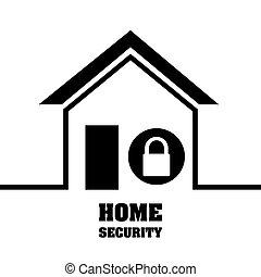 sécurité maison, système, serrure, intimité, protection