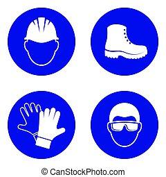 sécurité, mandatory, santé, signes