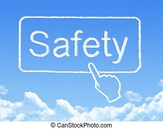 sécurité, message, nuage, forme