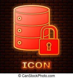sécurité, mur, illustration, protection, fermé, incandescent, icône, vecteur, néon, brique, sécurité, isolé, sécurité, serveur, concept., cadenas, arrière-plan.