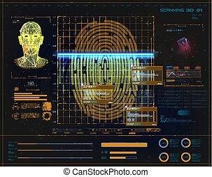 sécurité, numérique, empreinte doigt, électronique, balayage