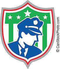 sécurité, police, bouclier, garde, officier