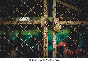 sécurité, porte, fermé, protection, serrure, padlock., métal